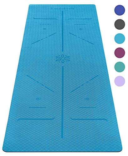 Ewedoos Eco Friendly Yoga Mat with Alignment Lines, TPE Yoga Mat Non Slip Textured Surfaces ¼-Inch Thick High Density Padding to Avoid Sore Knees, Perfect for Yoga, Pilates and Fitness
