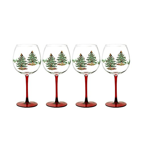 Spode Christmas Tree Glass Wine Goblet with Red Stem, Set of 4