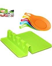 Silicone Spoon Rest,6 Pack Kitchen Silicone Spoon Rest,Rest with Drip Pad for Multiple Utensils, Thick Spoon Rest for Spatula, Ladle, Fork, Tongs, Heat Resistance Spoon Holder for Stove Top