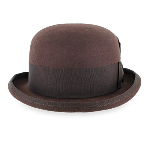 Belfry Tammany Men's Vintage Style Dress Fedora 100% Pure Wool Felt Derby Bowler Hat in Black or Grey (Small, Brown)