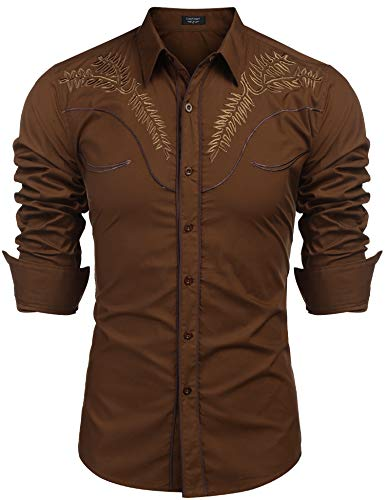 Men's Long Sleeve Slim Fit Embroideres Shirts Retro Cotton Western Button Down Shirt