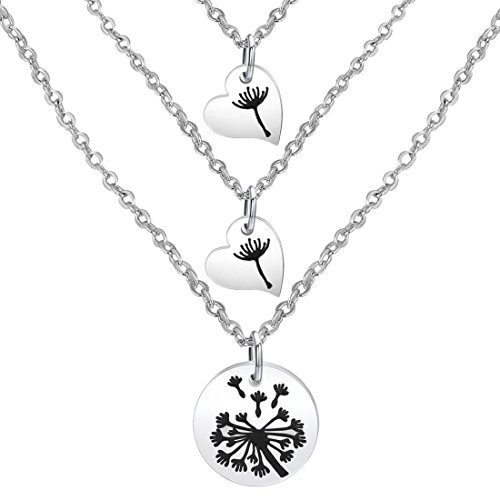 Daughter Set (Zuo Bao Dandelion Mother Daughter Necklace Set Mother Daughter Jewelry Dandelion Necklace (Silver-2 Daughter))