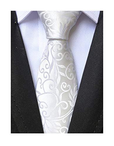 - Mens Silk White Tie Floral Pattern 3.15