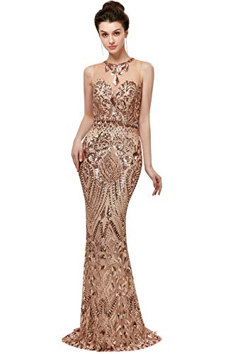 Heartgown Women's Sexy Sequins Mermaid Dresses Sleeveless Evening Dress Long Prom Party Gowns (US4, Champagne)