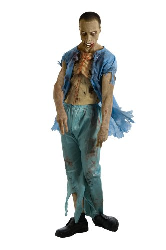 The Walking Dead TV Show Zombie Patient Costume with Molded Wound, Multicolored, Standard