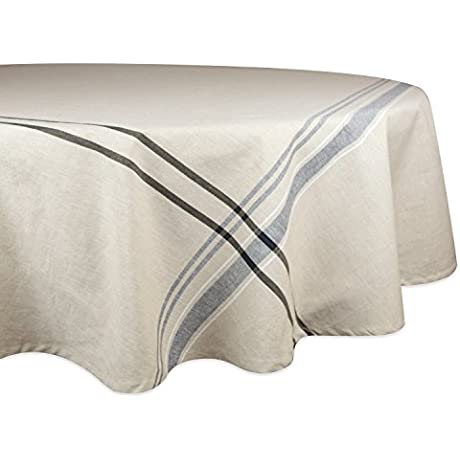 DII 100 Cotton Machine Washable Everyday French Stripe Kitchen Tablecloth For Dinner Parties Summer Outdoor Picnics 70 Round Seats 4 To 6 People Black