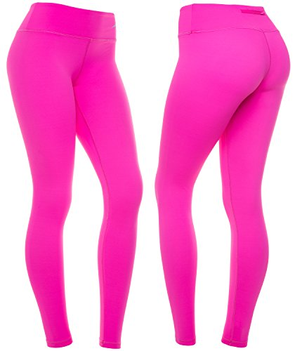 (CompressionZ Women's Compression Pants (Pink - L) Best Full Leggings Tights for Running, Yoga, Gym)