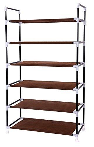Vinsani 6 Tier Shoe Rack Standing Shoe Furniture Storage Organizer Stand Adjustable Shelf Brown ()