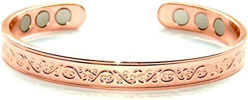 Stunning Copper Magnetic Bracelet for Arthritis 6 Magnets Beautiful Classic Design; Commonly Worn for Pain Relief and Magnetic Healing; Can Also be Worn as an Accessory SCB667