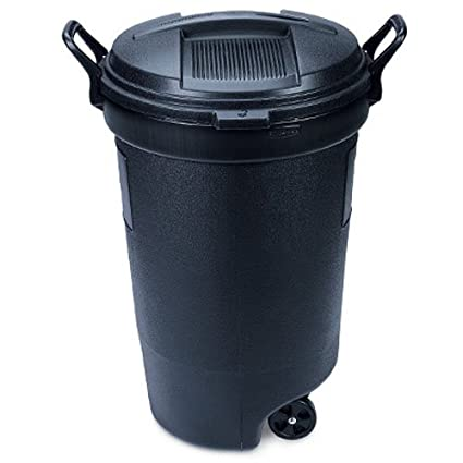 United Solutions Trashmaster 32 Gallon Wheeled Trash Can With Turn Lock Lid 3 Pack
