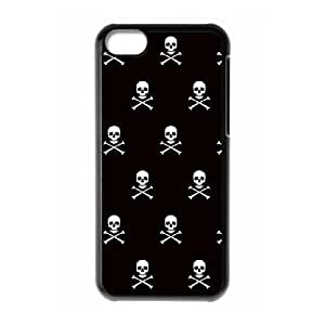 iPhone 5c Cell Phone Case Black Skull and Crossbones white SLI_700065