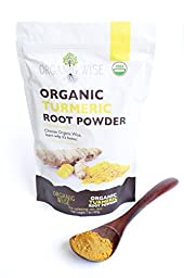 1 lb Organic Turmeric Root Powder by Organic Wise, Minimum 8.19% Curcumin Content. Certified USDA Organic by Organic Certifiers and Packed in the USA, From India-Resealable Pouch