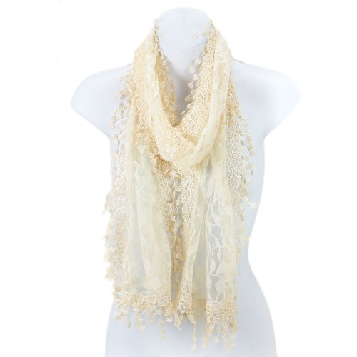 Fashion Solid Tassels Lace - AN Elegant Fashion Leafy Lace Scarf Womens With Tassels Solid Color Cream