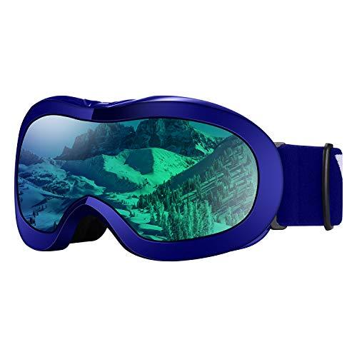VELAZZIO Kids Ski Goggles, Snowboard Goggles OTG Snow Goggles Anti-Fog Double-Layer Lenses, 100% UV Protection (Blue Frame/Blue Lens REVO Blue Coating (VLT 52%))
