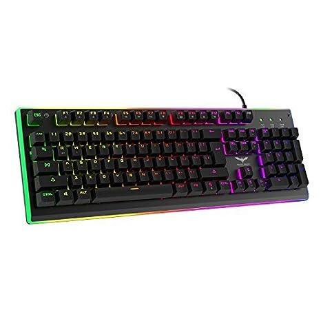 HAVIT RGB Backlit Wired Membrane Gaming Keyboard, Mechanical-Similar Typing/Gaming Experience HV-KB380L
