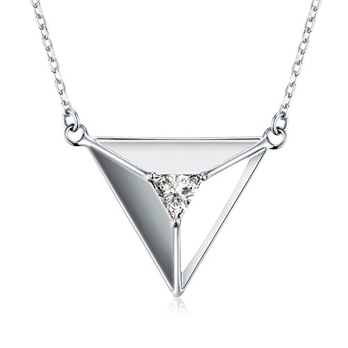 NINAMAID 3D Triangle 925 Sterling Silver Pendant Necklace with Sparkling Cubic Zirconia Women Jewelry