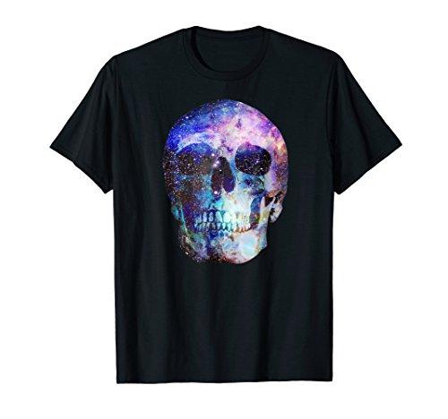 Mens Galaxy Space & Stars Cosmic Skull T-Shirt XL Black ()