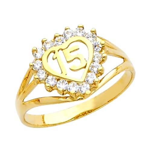 14k Yellow Gold Sweet 15 Anos Quinceanera Heart Ring with Cubic Zirconia (Size 7) ()