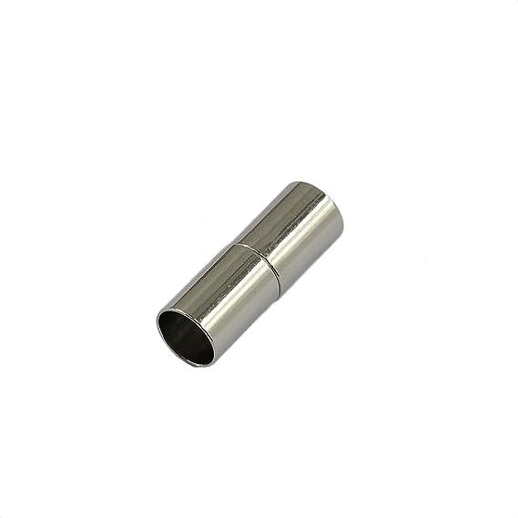 4mm Argent MagiDeal 10pcs Fermoirs Magn/étiques Tube Push Bouchon en Cuivre Attaches pour Bijoux Cuir Cordon Colliers Bracelets