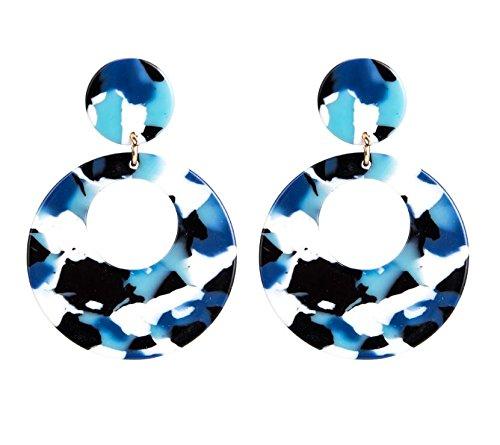 不道徳シンカンだらしないDuRone - ファッションボヘミアン柄の女性のロングピアスファッションジュエリーのための穀物アクリルイヤリングブラブララウンドイヤリング