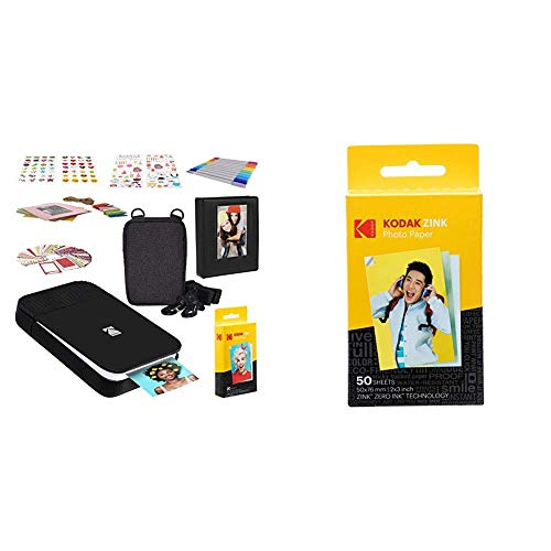 KODAK Smile Instant Digital Printer - Black/White with Kodak 2ʺx3ʺ Premium Zink Photo Paper (50 Sheets)