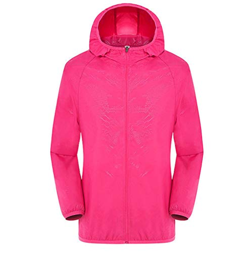 TANGSen_Mens Women Solid Hooded Jackets Windproof Ultra-Light Rainproof Windbreaker Long Sleeve Zipper Top Hot Pink -