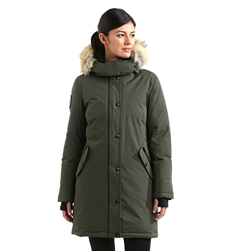 Triple F.A.T. Goose Alistair Womens Hooded Arctic Parka With Real Coyote Fur (Medium, Olive) by Triple F.A.T. Goose (Image #2)