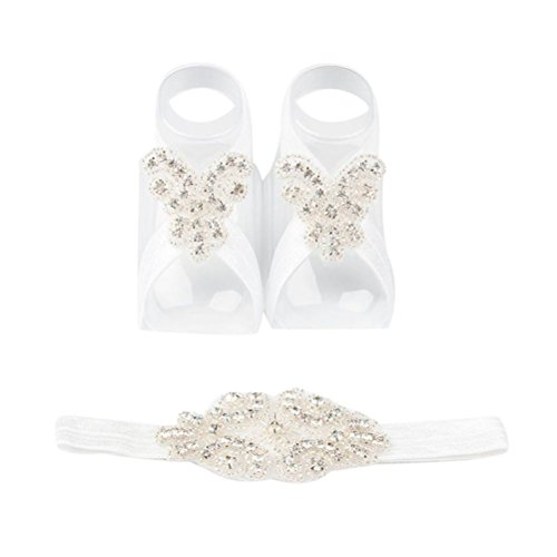 Vibola Baby Headband+Anklet Foot Flower Elastic Band Diamond hair Accessories (White)