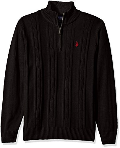 U.S. Polo Assn. Men's Solid Cable 1/4 Zip Sweater, Black, ()