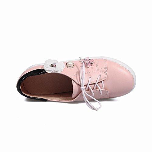Heel Foot Mujeres Hidden Heel Lace Up Flores Zapatos Planos Multicolores Pink