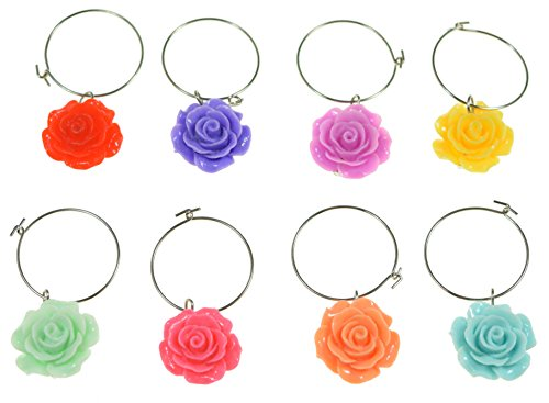 (PrestigeHaus Flower Wine Glass Charms - Set of 8 Colorful Flower Charms - Tags to Mark Your Drinks)