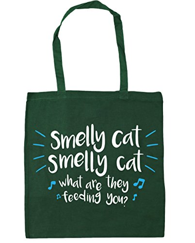 HippoWarehouse Smelly cat smelly cat what are they feeding you Tote Shopping Gym Beach Bag 42cm x38cm, 10 litres Bottle Green