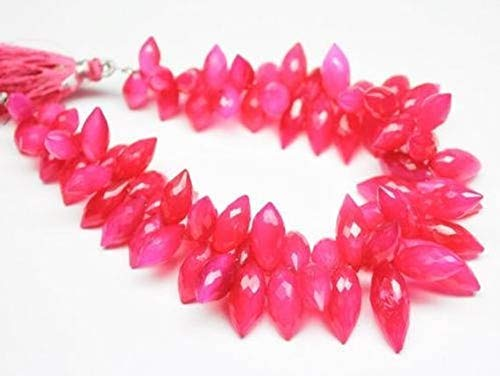 Hot Pink Chalcedony Faceted Puff Marquise Beads Gemstone Strand 8
