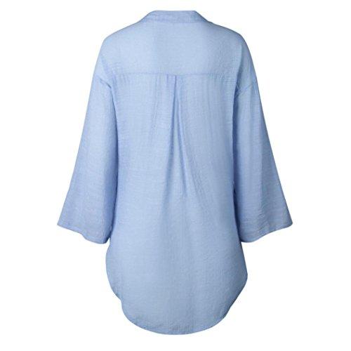 Camicetta Donna Top Ningsun Sciolto da Moda Lunga Neck Pulsante Shirt Blu Casuale Le Signore Maniche Casual Camicia Vestito V Lunghe T Cotone Tops Eleganti 4wx4Zq6rE
