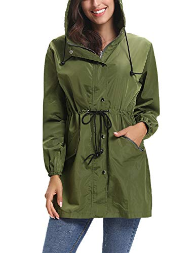 (Aibrou Women's Lightweight Raincoats Waterproof Active Outdoor Packable Hooded Trench Coats Army Green)