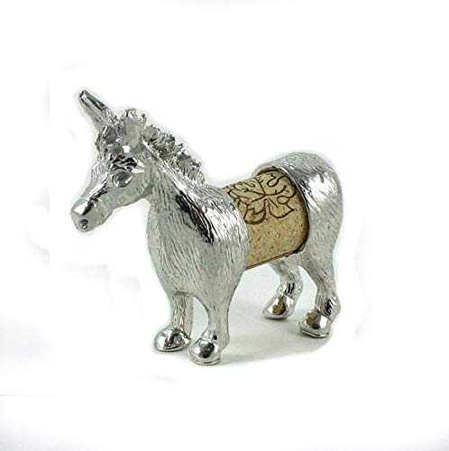 (Cork Donkey Sculpture - Changeable Wine Cork Display - Gift Boxed - Handcrafted Pewter Made in USA)