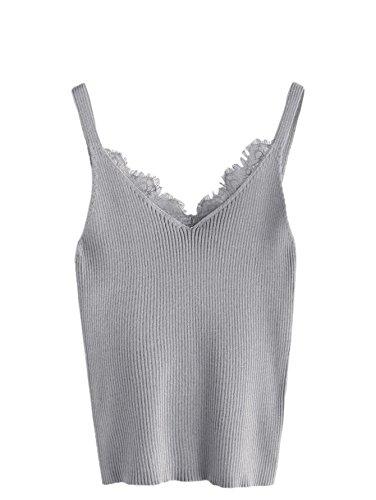 (MAKEMECHIC Women V Neck Lace Trim Sleeveless Knit Cami Tank Crop Top 5 one-Size)