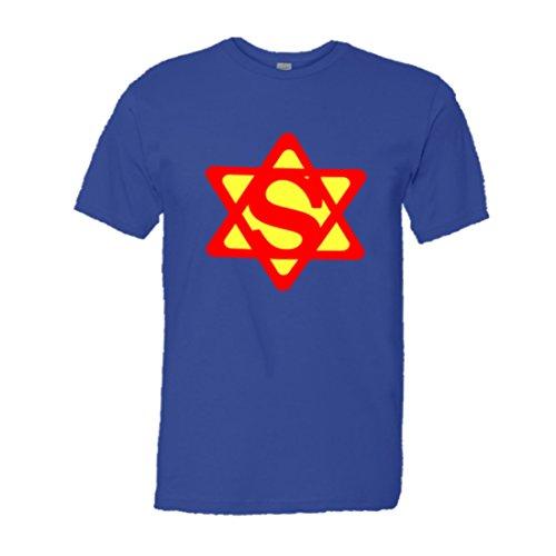 Mens Super Jew Super Man Jewish Star of David HQ Tee-Royal-L]()