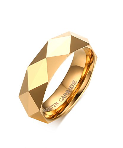 6mm Diamond Faceted Tungsten Carbide Wedding Band Rings For Men Women Polished Beveled Edge Comfort Fit (gold(tungsten), 9) -