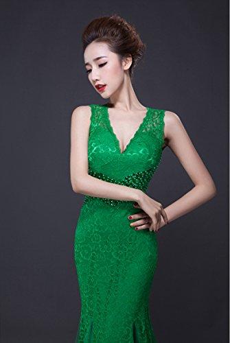 Arm tiefem Bodycon Nixe V Spitze Emily mit Ohne Abendkleid Rückenfrei Grün Beauty Ausschnitt w6Iq8Fp