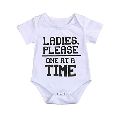 YOUNGER TREE Newborn Baby Boys Girls Summer Romper Bodysuit Jumpsuit Cotton Funny T-Shirts Playsuit Outfit Clothes (0-3 Months, White) for $<!--$11.99-->