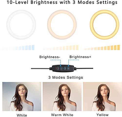 LED Lumière Anneau, ZOMEi 30cm Lampe Annulaire Réglable avec Trépied de 168cm, avec 3 Modes d\'éclairage et 10 Niveaux de Luminosité pour Caméra, Smartphone, Maquillage, Youtube Vidéo, TikTok