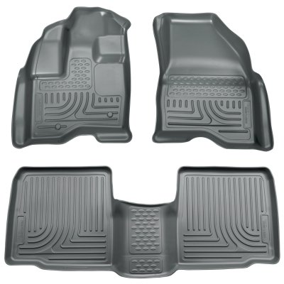 Husky Liners 98702 WeatherBeater Combination Front & 2ND Seat Floor Liners - (3 PCS) - Platinum Mobile Square