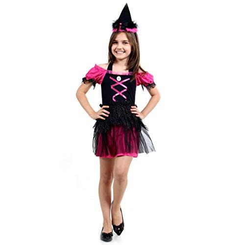 Fantasia Bruxa Doces ou Travessuras Infantil Sulamericana Fantasias Preto/Rosa P 3/4 Anos