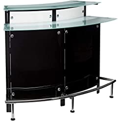 Home Bar Cabinetry Arched 1-shelf Bar Unit with Glass Counter Tops Glossy Black, Chrome, Frosted and Clear home bar cabinetry