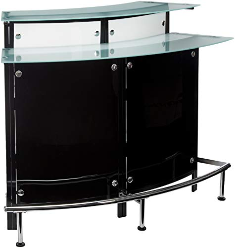 (Arched 1-shelf Bar Unit with Glass Counter Tops Glossy Black, Chrome, Frosted and Clear)