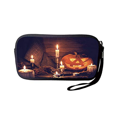 iPrint Neoprene Wristlet Wallet Bag,Coin Pouch,Halloween,Rustic Home Wooden Planks Burning Candles Pumpkin Sackcloth Harvesting Holiday Decorative,Orange Brown,for Women and Kids