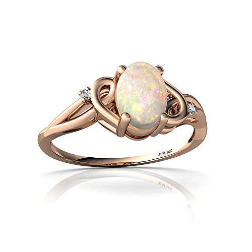 14kt Rose Gold Opal and Diamond 7x5mm Oval Swirls Ring - Size 6