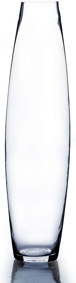 """WGV Tall Bullet Glass Vase, Width 7"""", Height 28"""", (Multiple Sizes Choices) Clear Oval Urn Floral Planter Container Storage Centerpiece, Wedding Event Home Decor, 1 Piece (VFV0428)"""