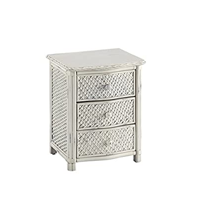 Home Styles Marco Island 3 Drawer Nightstand - Weather-worn Rubbed White - Dimensions: 21.25W x 17.75D x 24.75H inches Charming accent made from mahogany and natural rattan Mahogany solids and veneers in hand-rubbed white finish - bedroom-furniture, nightstands, bedroom - 41PErvBlEqL. SS400  -